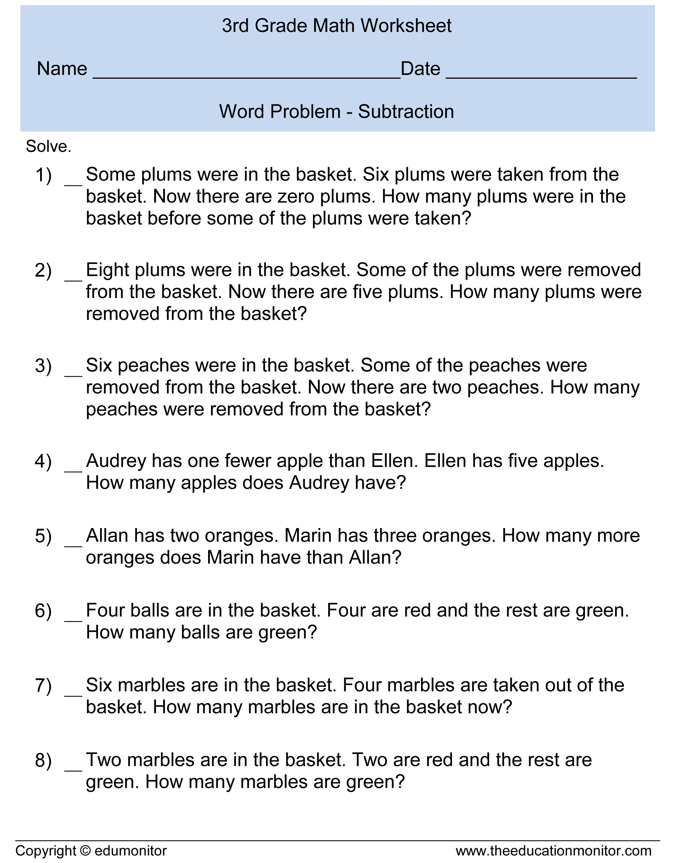 Third Grade Subtraction Word Problems 3rd Grade Math