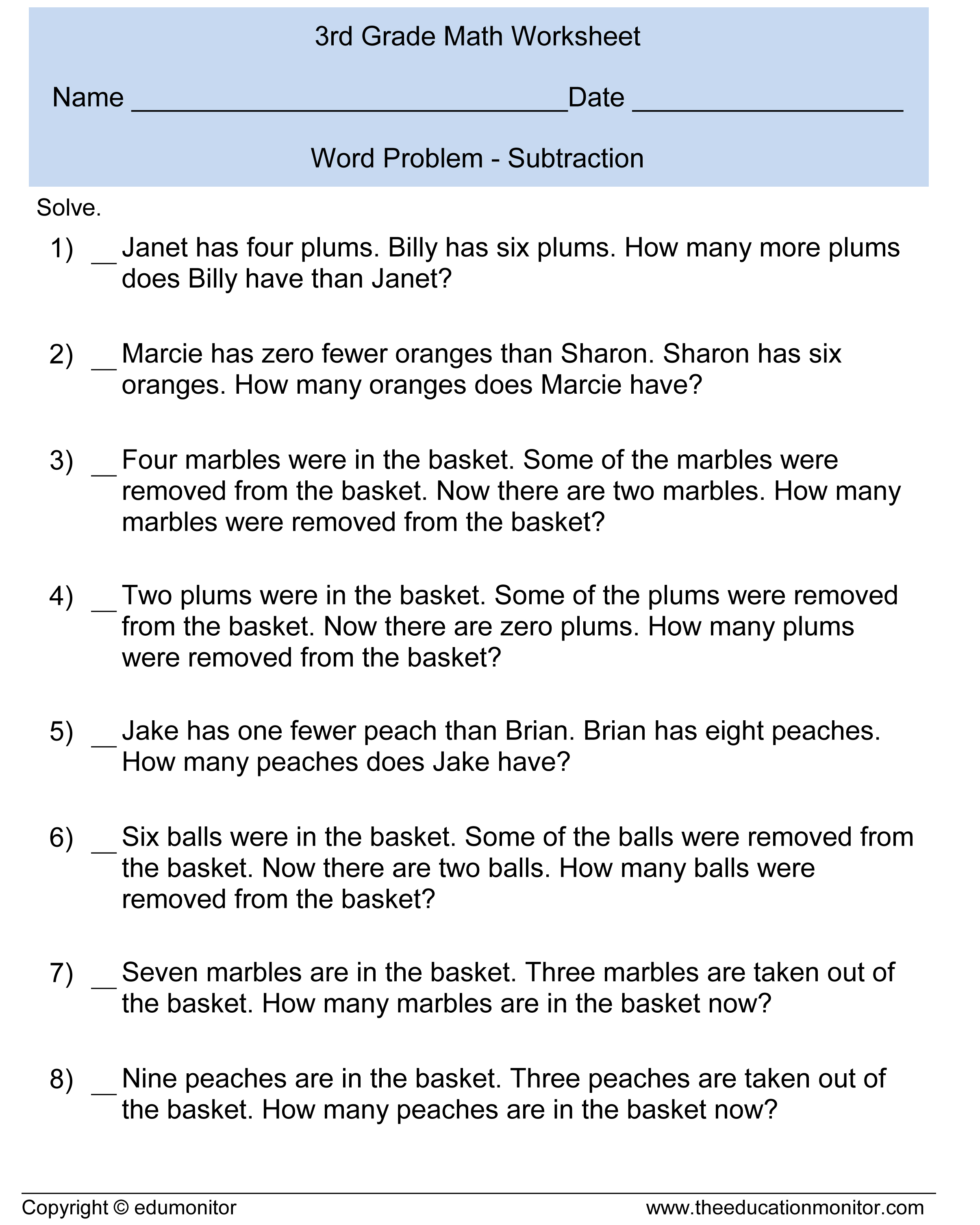 Search Results For First Grade Subtraction Worksheets