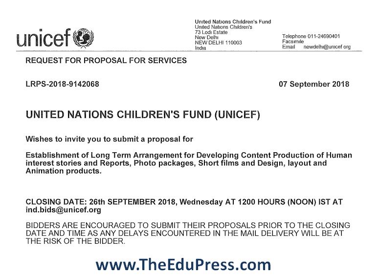 United Nations Children Fund (UNICEF) invites proposals for