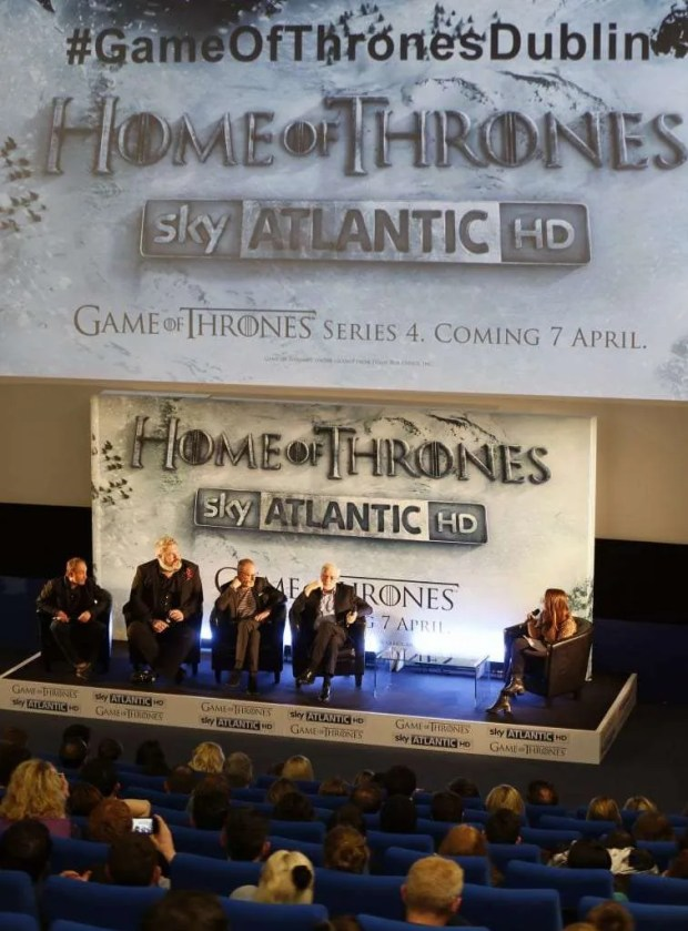 Michael McElhatton,  Kristian Nairn, Liam Cunningham and Ian McElhinney during a Q&A session at the Irish premiere of Game of Thrones Season 4 on Wednesday night.