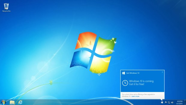How the Windows 10 upgrade will look to Windows 7 users.