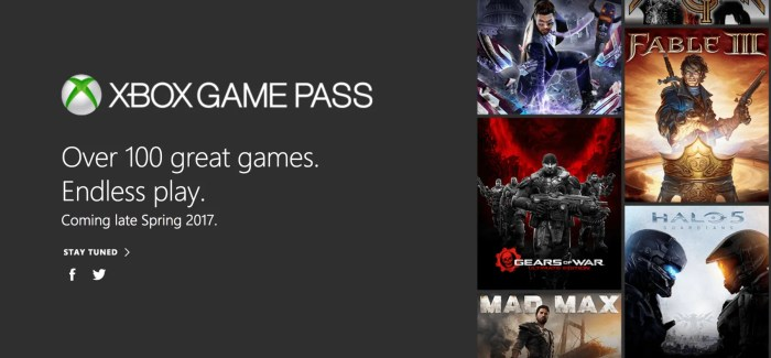 NEWS: Xbox Game Pass Announced – Over 100 titles available on demand