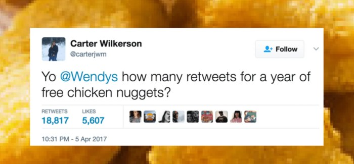 #NuggsForCarter is now the most Retweeted Tweet of all time