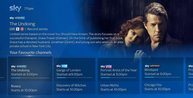What's On Now and Next TV screen
