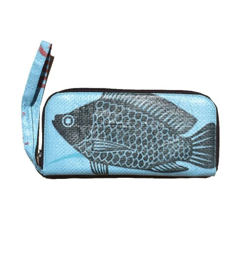 Ladies Recycled Fish Feed Long Clutch Purse with Wrist strap 6
