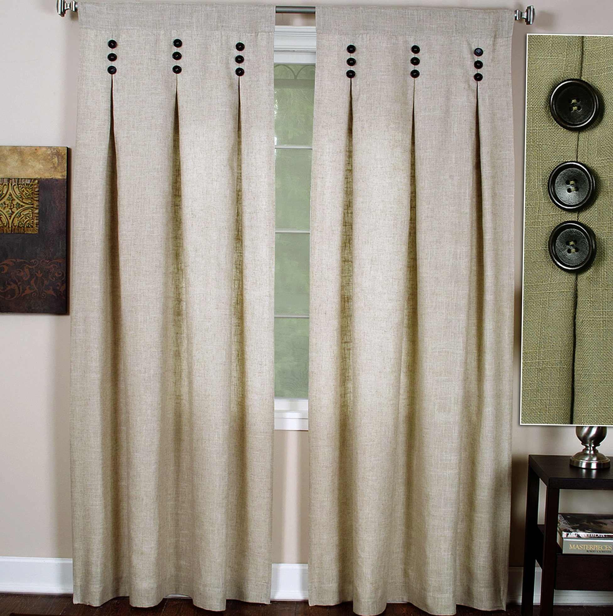 Pinch Pleat Curtains With Buttons Home Design Ideas