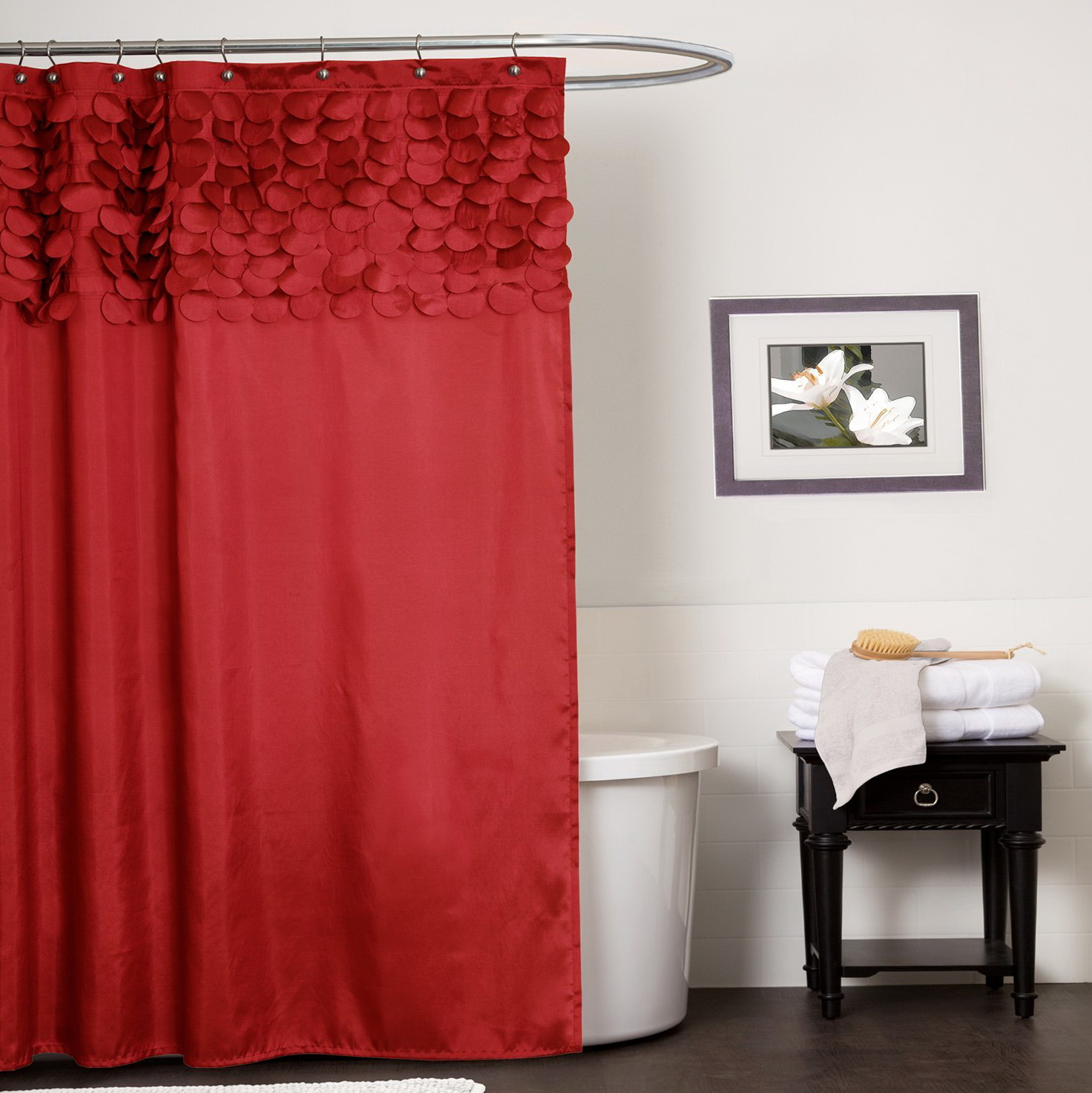 Red Shower Curtains Fabric Home Design Ideas