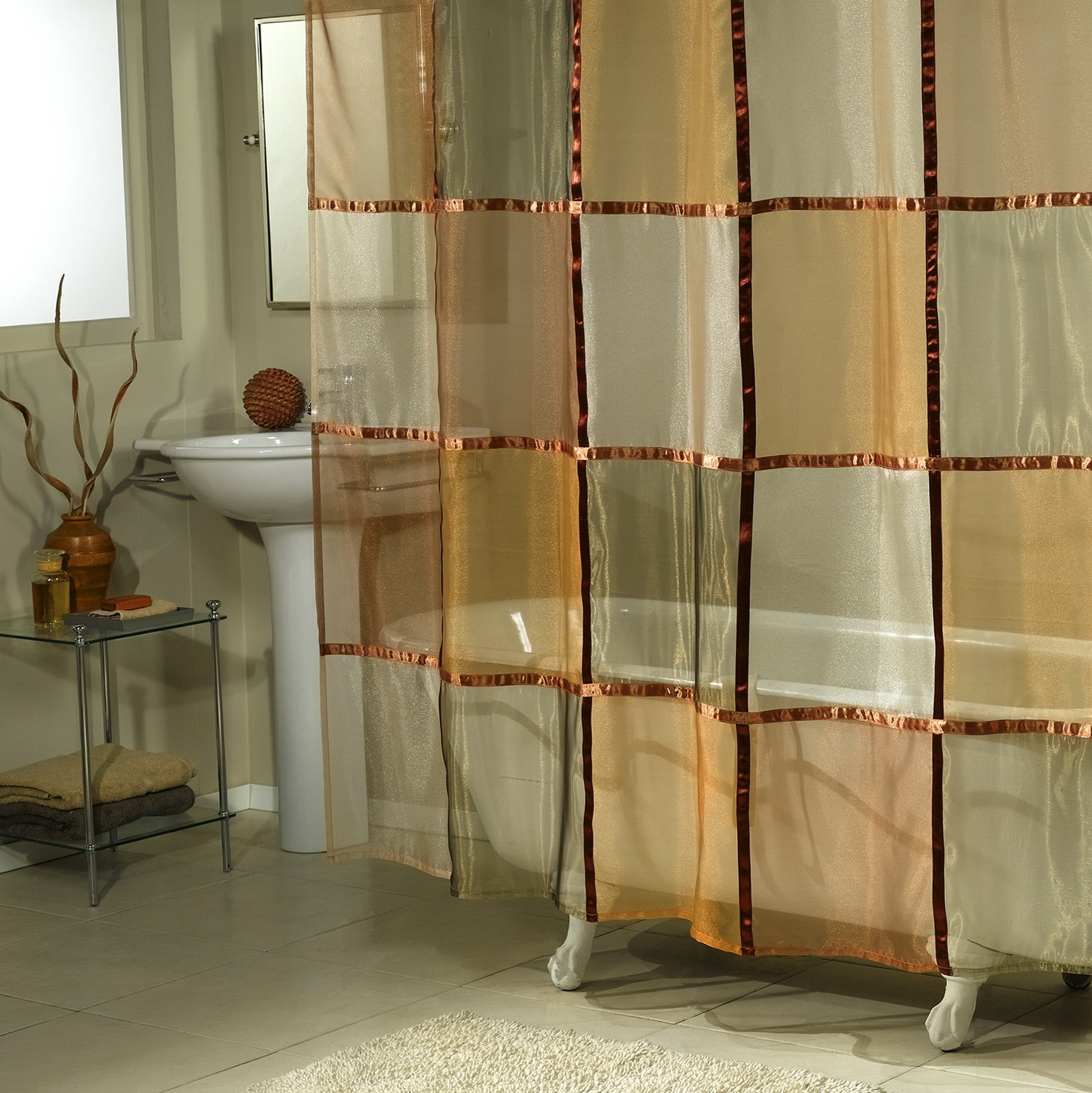 Sheer Shower Curtains Fabric Home Design Ideas