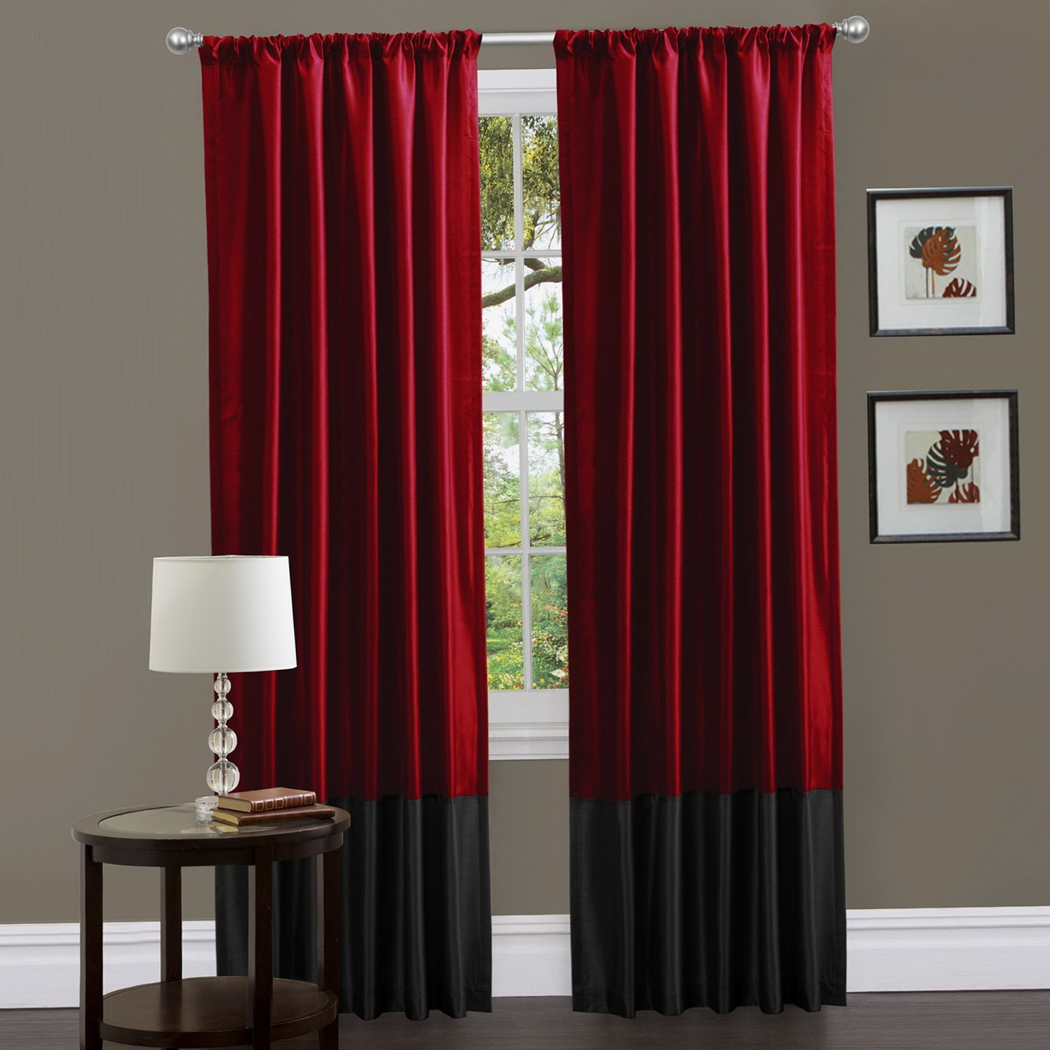 Red And Gray Curtain Panels Home Design Ideas