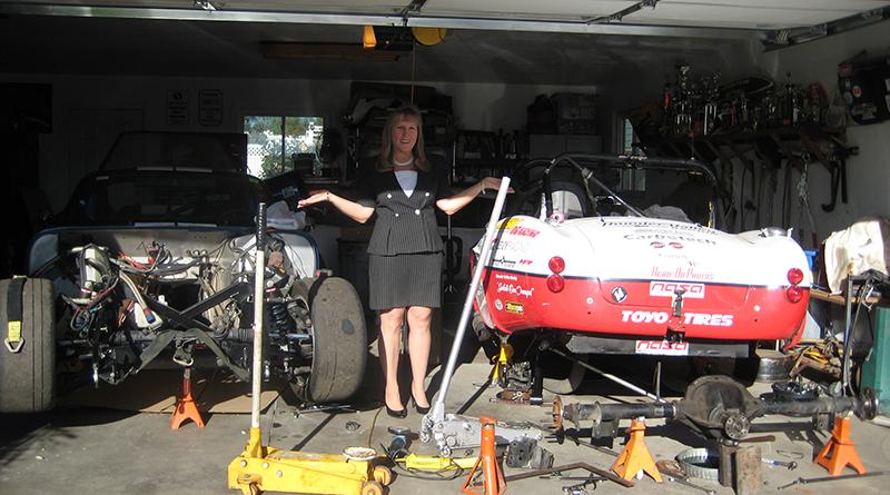 Karen Salvaggio, hard at work in her garage.