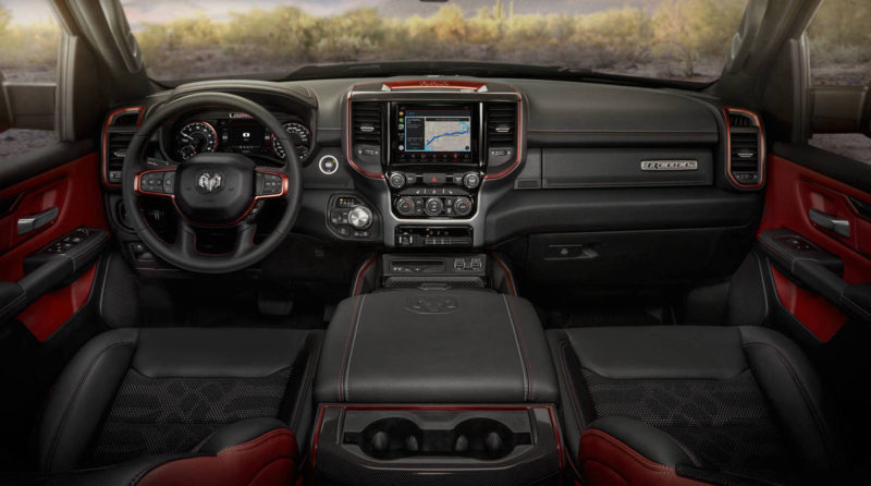 The interior of the 2018 RAM 1500 Rebel sees some thoughtful upgrades.