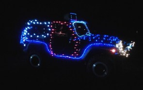 This lighted Jeep Parade was a great way to raise money for Toys for Tots.