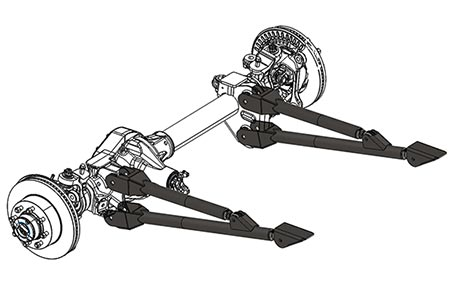 Radius arms are simple devices that clamp to the axle housing and attach to one point on the chassis.