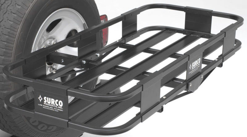 The Surco Spare Tire Rack provides extra cargo space while leaving the hitch free for towing.