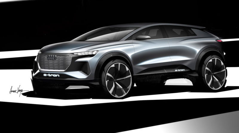 Audi's showcase at the 2019 Geneva Motor Show will be the fully electric Q4 e-tron compact SUV.