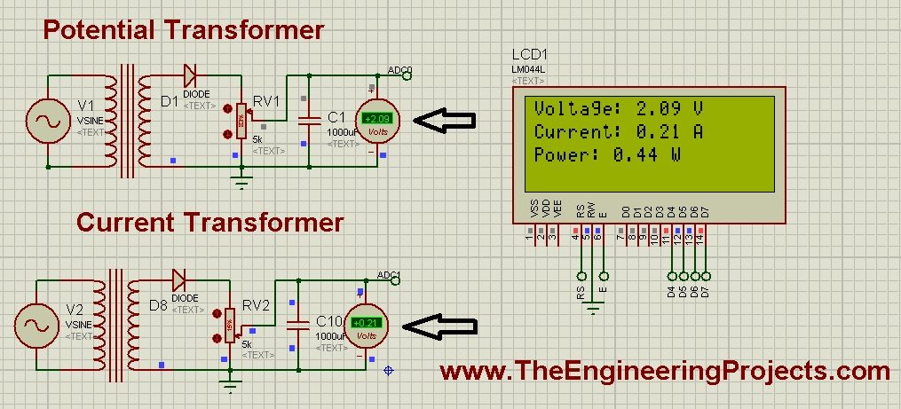 Display ADC value on LCD using Arduino in Proteus ISIS, Currentt Transformer in Proteus,Potential Transformer in Proteus, Arduino ADC simulation in Proteus