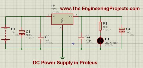 How to design a DC power supply, 5V power supply, How DC power supply is designed in proteus, How DC power supply works, How to design a power supply, How DC power supply works