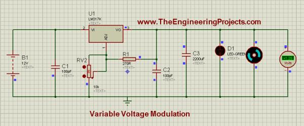 Voltage modulation circuit, Variable voltage supply, Variable Voltage Modulation using LM317 in Proteus ISIS,DC power supply, dc power supply using lm317, lm317 dc power suppply,Variable voltage circuit using 555 timer in proteus isis, how to design variable voltage supply in proteus isis