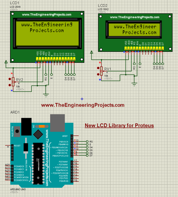lcd library for proteus, lcd simulation in proteus, proteus lcd simulation