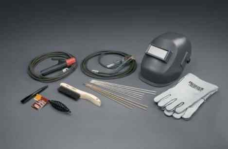 Welding Cables, Helmet, Gloves and Wire Brush