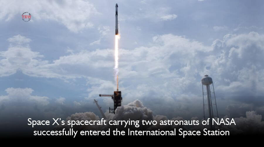Space X's spacecraft carrying two astronauts of NASA successfully docks at the International Space Station