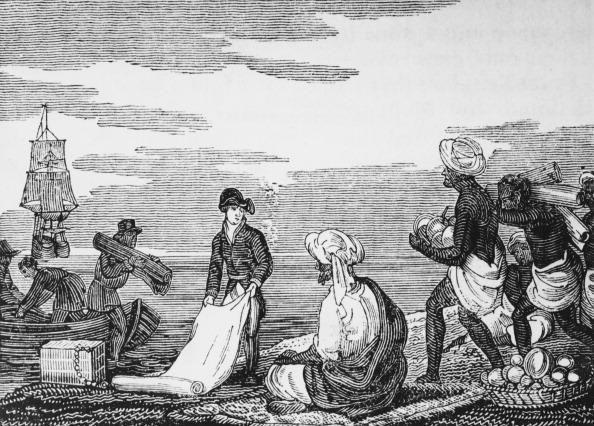 Mercadores trocam mercadorias com os habitantes de Tidore, na Indonésia, por volta de 1550. A troca foi suplantada pelo uso do dinheiro, porque é mais eficiente (Arquivo / Getty Images)