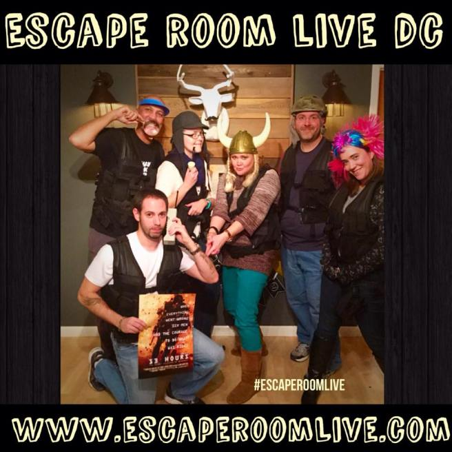 We completed the mission! Members of the elite squad were Dennis, Jason, Dennis' wife, Chris, Mike and Dalia. Photo courtesy of Escape Room Live Glover Park's Facebook page.