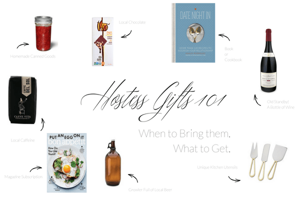 Hotess Gift Chart showing common gift ideas - jam, chocolate, book, magazine subscription, growler of beer, bottle of wine and cheese knives