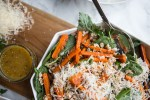 Roasted Carrot, Farro and Parmesan Salad topped with a Stone Ground Mustard Vinaigrette