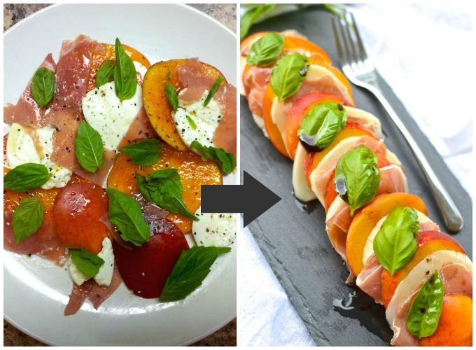 Now with better photos! Peach Prosciutto Caprese Salad at www.mybottomlessboyfriend.com