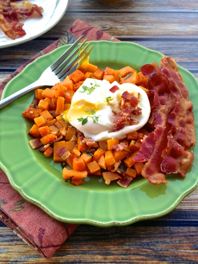 Poached Eggs with Bacon-Roasted Butternut Squash at www.mybottomlessboyfriend.com