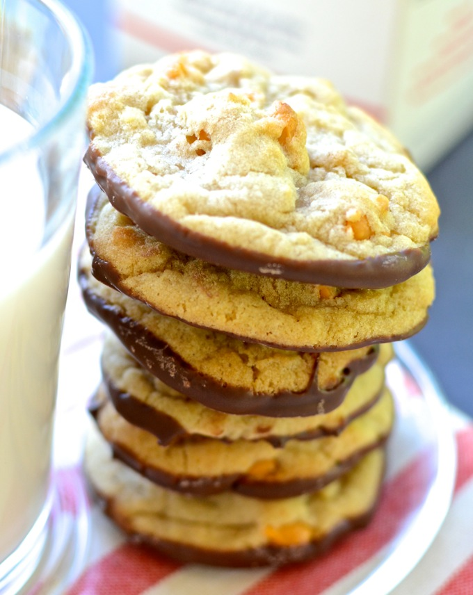 Chocolate Dipped Butterscotch Cookies - get the recipe at www.mybottomlessboyfriend.com