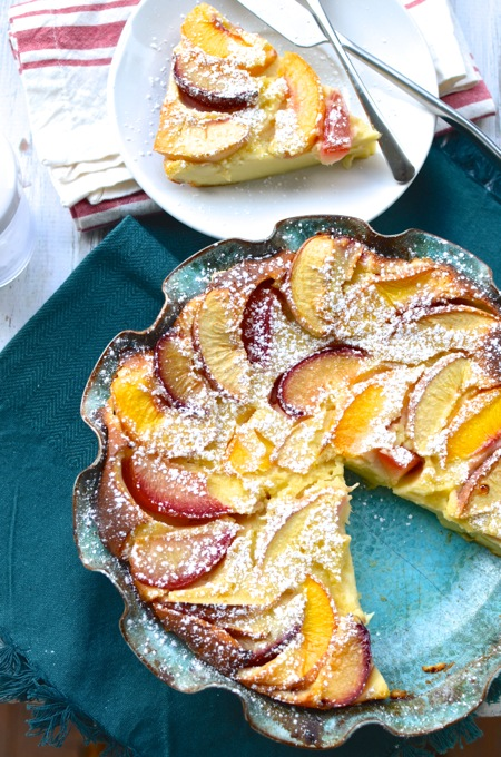 Stone Fruit Clafoutis made with nonfat Greek yogurt instead of heavy cream! At www.mybottomlessboyfriend.com