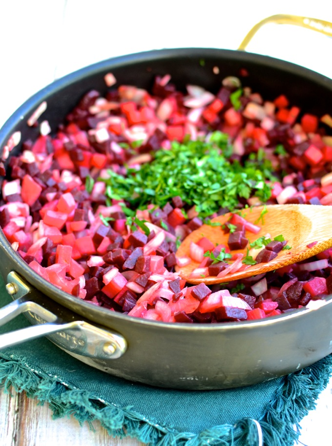Beet & Turnip Hash, just add runny eggs! Recipe at www.mybottomlessboyfriend.com
