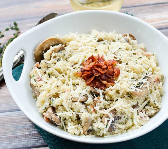 Mushroom Bacon Cauliflower Risotto | www.mybottomlessboyfriend.com