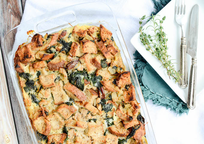 Turkey Sausage and Kale Bread Pudding is the best thing I've ever made. This recipe is a wonderful addition to any fall feast and can easily be made vegetarian. #sugarfree #thanksgivingi #fallrecipes | theeverykitchen.com