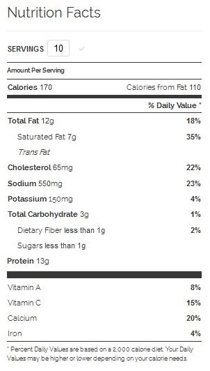 Example of Nutrition Info on Yummly | www.mybottomlessboyfriend.com