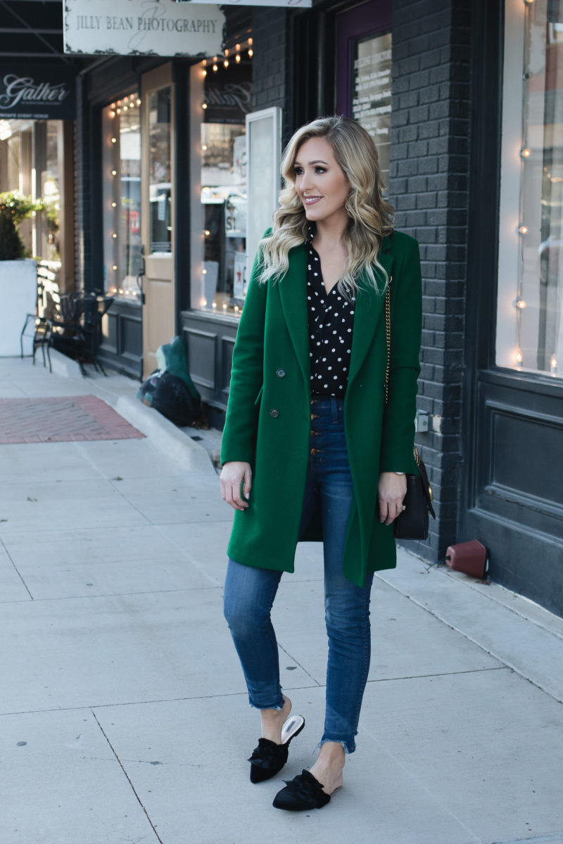 Trendy fashion advice for women   The Eyeliner Edit Green Coat Polka Dot Top