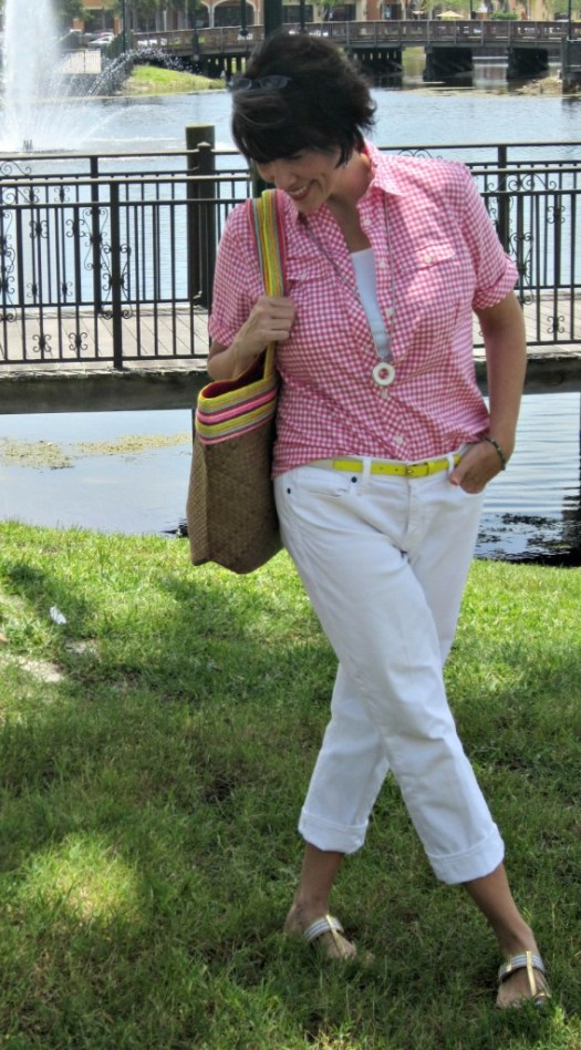 pink gingham and white boyfriend jeans