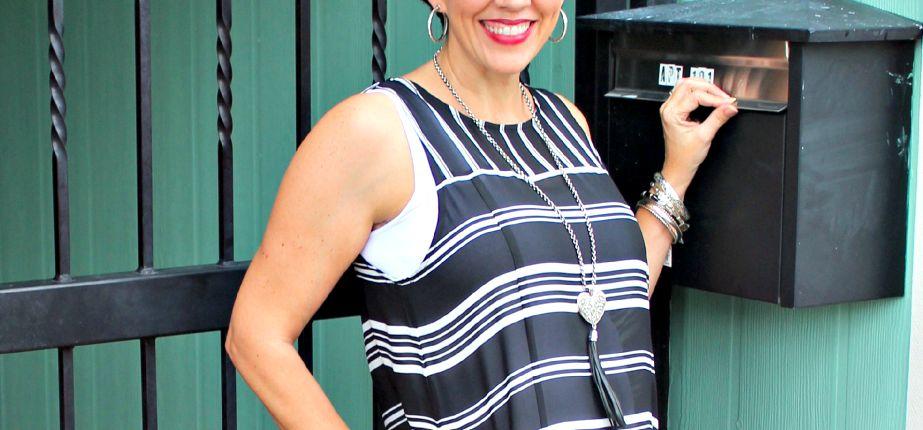 monochromatic shirt dress with Kendra Scott pendant necklace