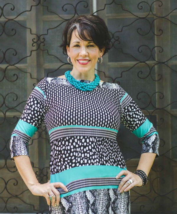 Colorful Sheath Dress Over Black Pants, fashion over 40