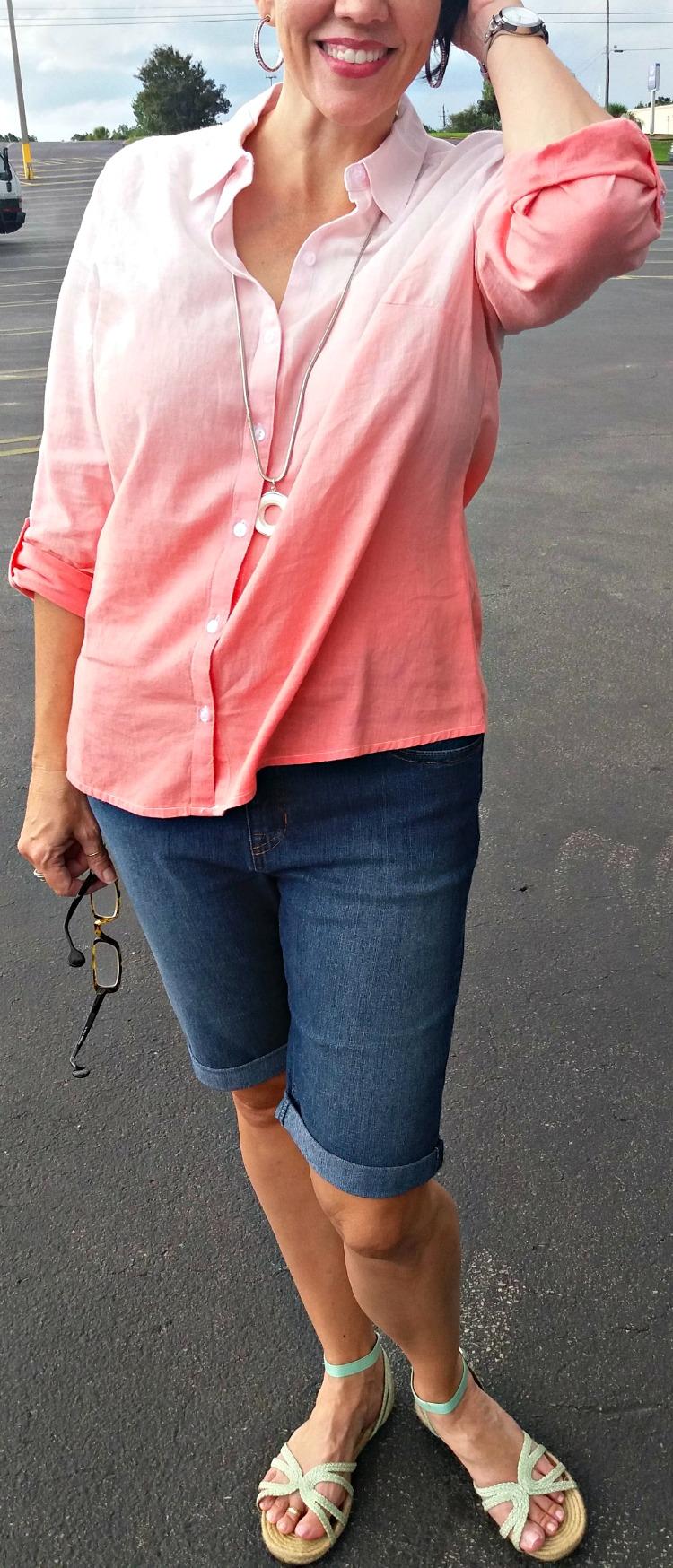 ombre linen shirt