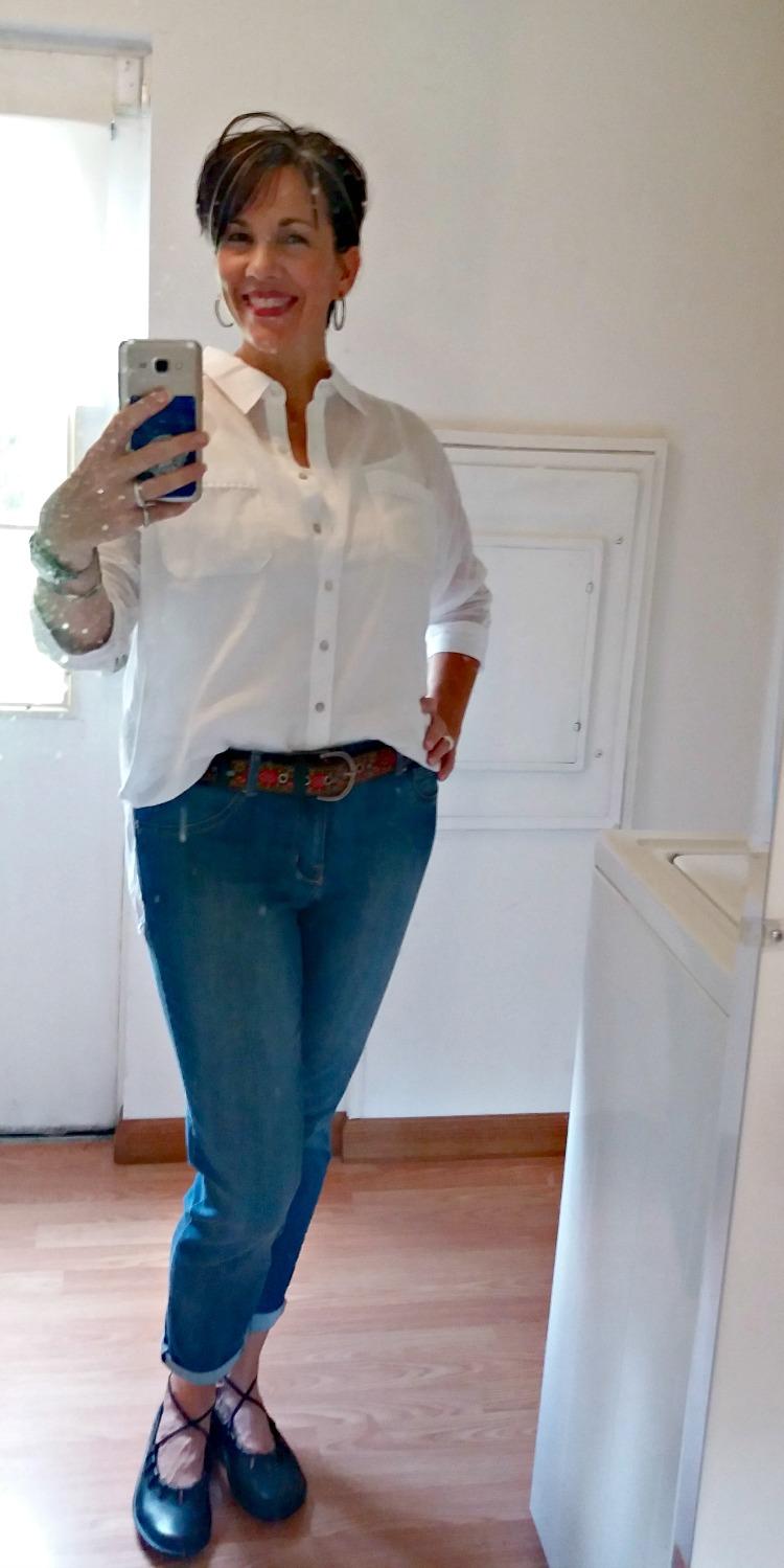 crisp white blouse