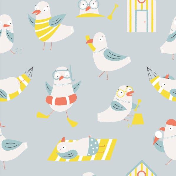 seagulls on the beach sunbathing and beach huts