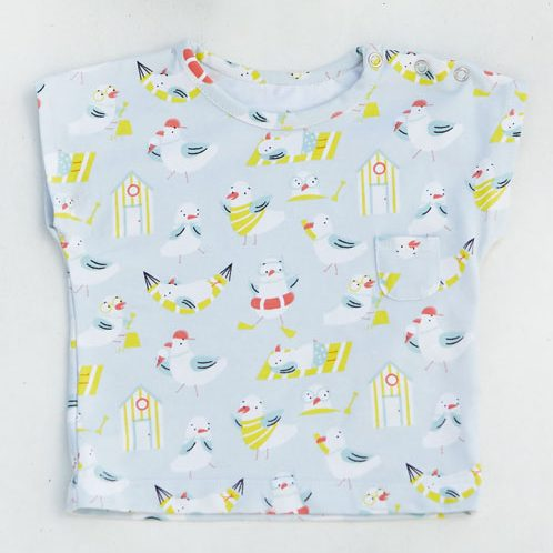 t-shirt made from seagull and beach hut fabric