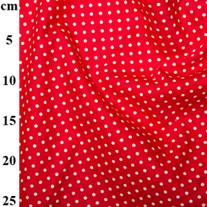 bright red polka dot fabric