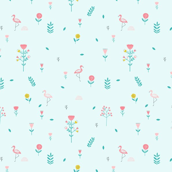 mint poplin with flamingos and flowers