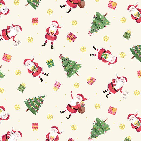 santa trees snowflakes and presents on cream background
