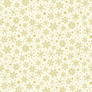 metallic gold snowflake print on cream background fabric