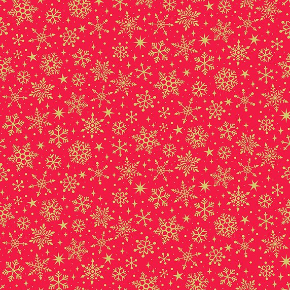 metallic gold snowflake print on red background fabric